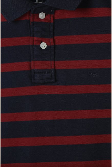 Peter England Navy & Red Striped Polo T-Shirt