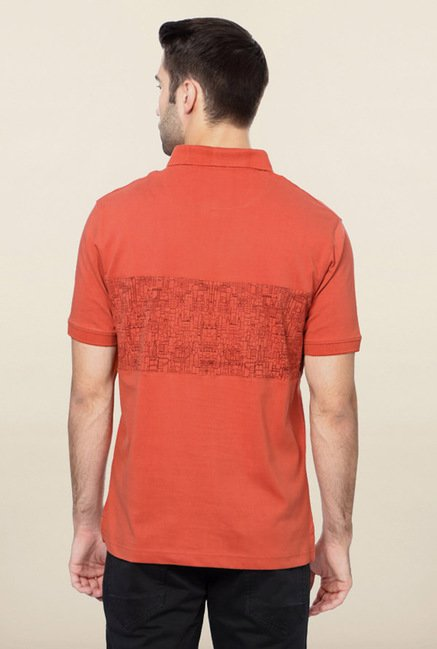 Peter England Coral Printed Polo T-Shirt