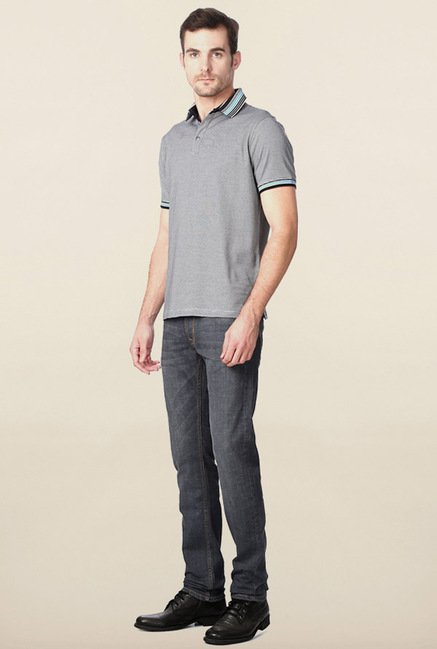 Peter England Grey Pin Stripes Polo T-Shirt