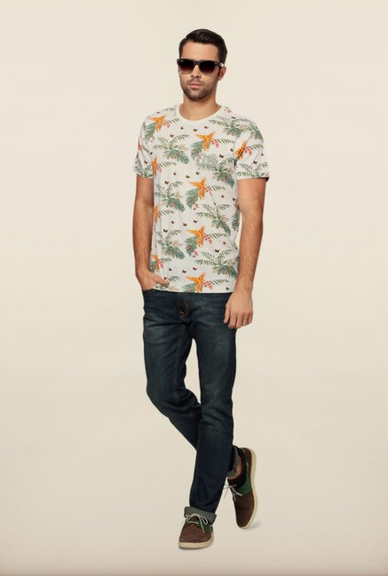 Peter England White Floral Print T-Shirt