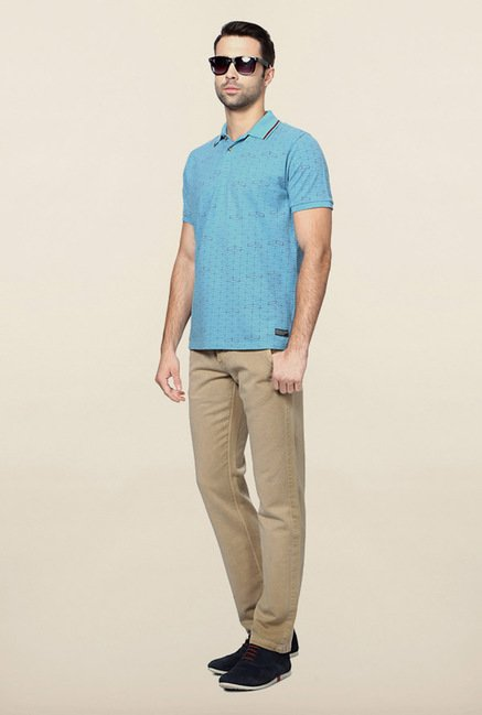 Peter England Blue Geometric Print Polo T-Shirt