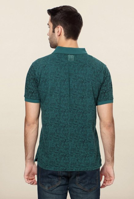 Peter England Green Geometric Print Polo T-Shirt