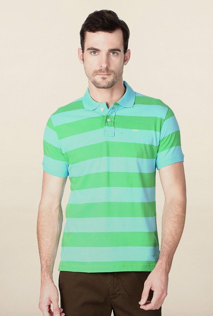Peter England Aqua Blue Striped Polo T-Shirt