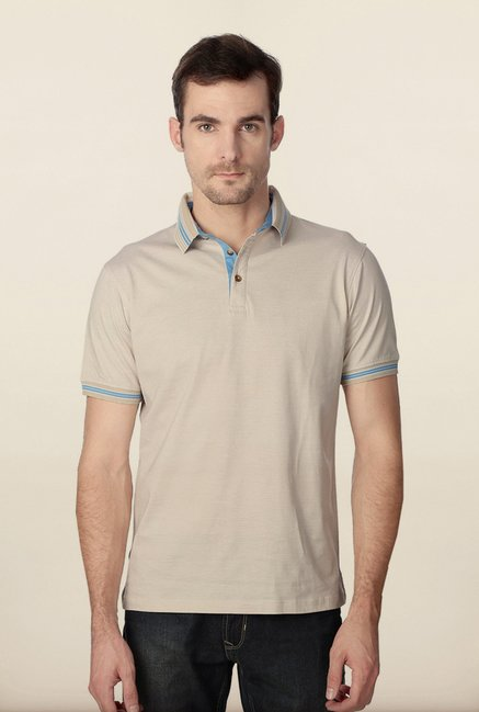 Peter England Beige & White Pin Stripes Polo T-Shirt