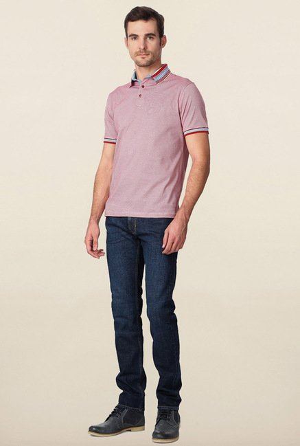 Peter England Red & White Pin Stripes Polo T-Shirt