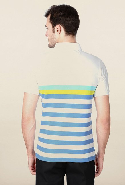 Peter England White & Blue Striped Polo T-Shirt