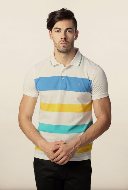 Peter England Multicolor Striped Polo T-Shirt