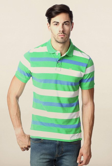 Peter England Green Slim Fit Polo T-Shirt