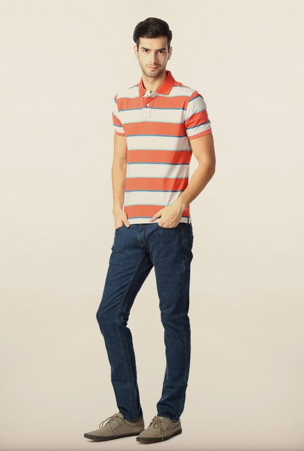 Peter England Orange & White Striped Polo T-Shirt