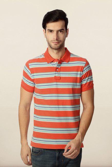 Peter England Orange & Blue Striped Polo T-Shirt