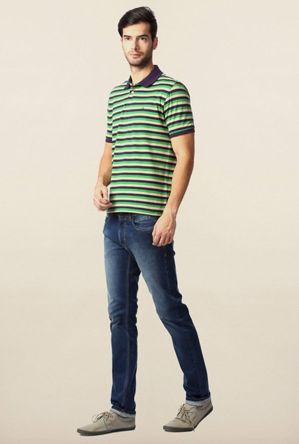 Peter England Green & Purple Striped Polo T-Shirt