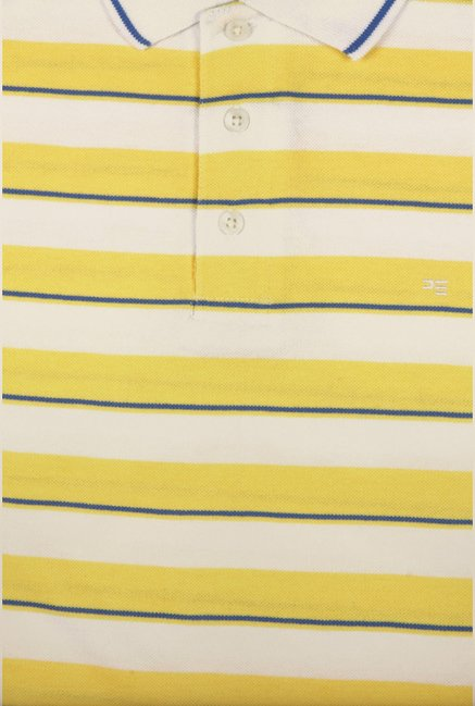 Peter England Yellow & White Striped Polo T-Shirt