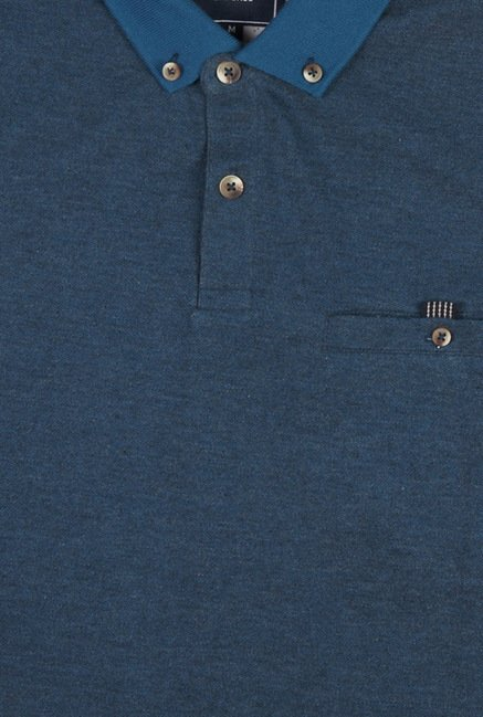 Peter England Blue Button Down Polo T-Shirt