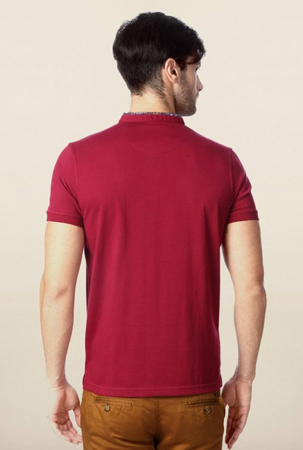 Peter England Maroon Solid Polo T-Shirt