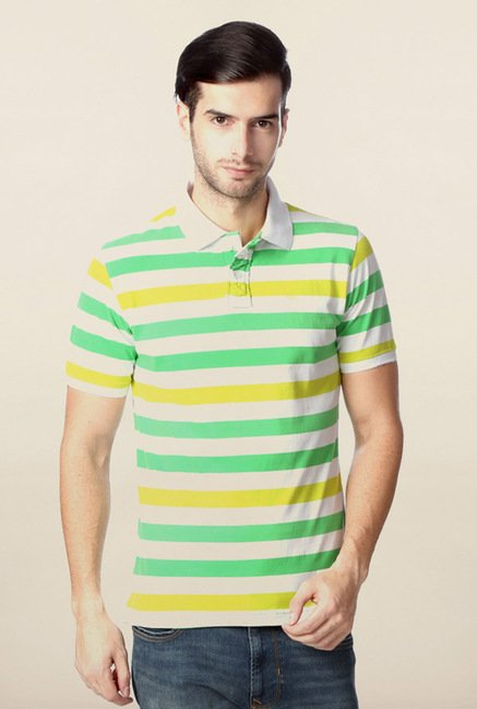 Peter England White & Green Striped Polo T-Shirt
