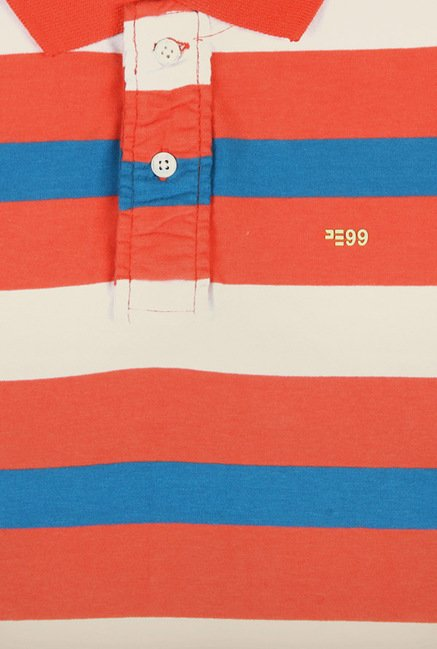 Peter England Orange & White Polo T-Shirt