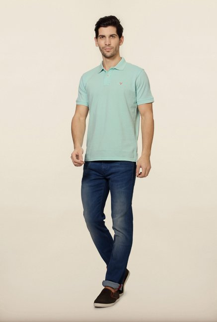 Allen Solly Light Blue Solid Polo T-Shirt