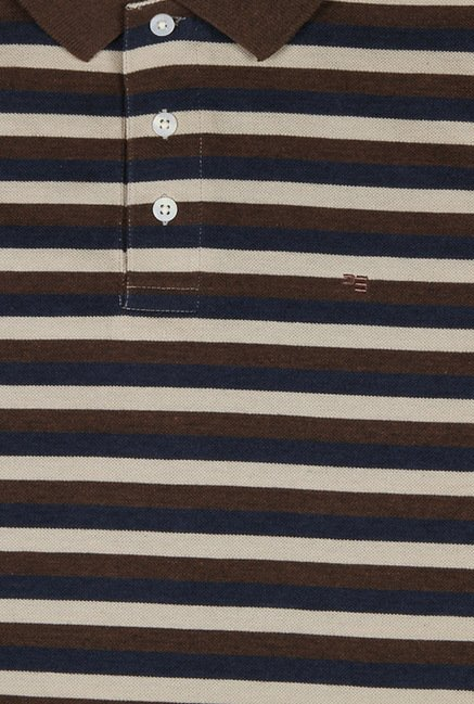 Peter England Brown & Navy Striped Polo T-Shirt