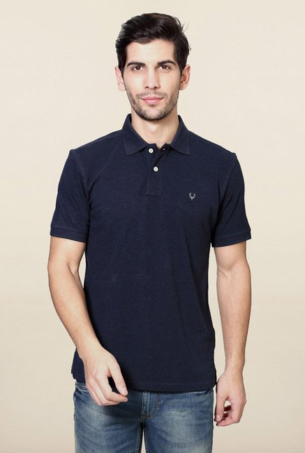 Allen Solly Navy Solid Polo T-Shirt