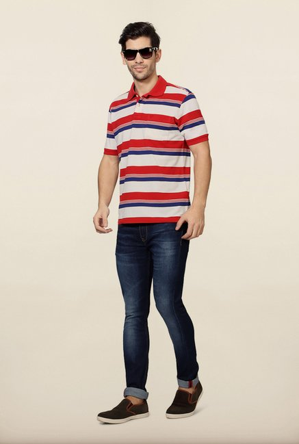 Allen Solly Red & White Striped Polo T-Shirt