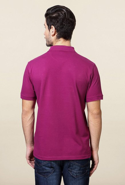Allen Solly Purple Solid Polo T-Shirt