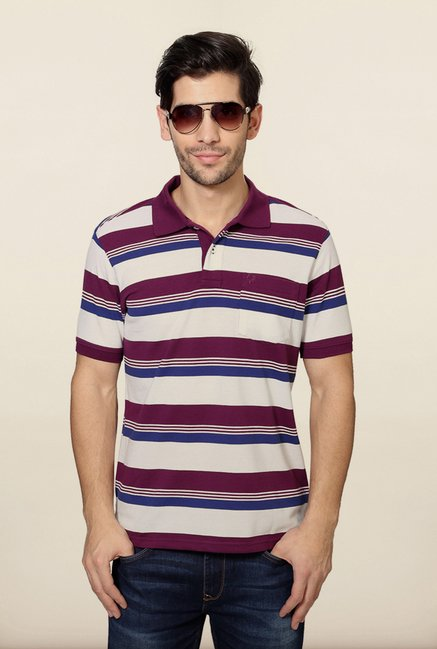Allen Solly Purple & White Striped Polo T-Shirt
