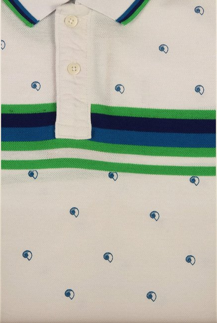 Peter England White Printed Polo T-Shirt