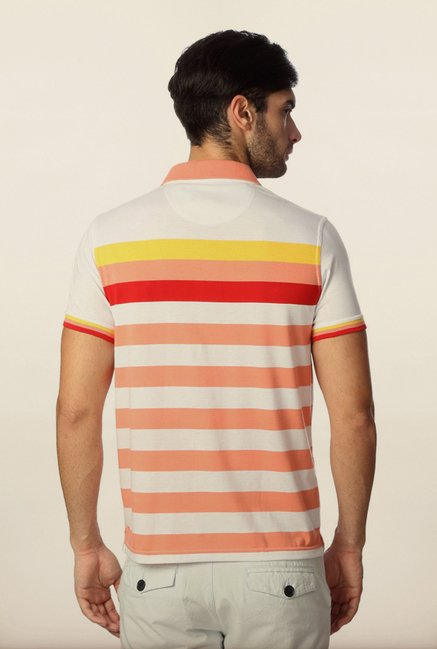 Peter England Peach & White Striped Polo T-Shirt