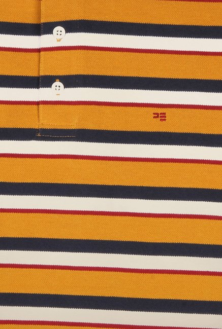 Peter England Mustard Striped Polo T-Shirt