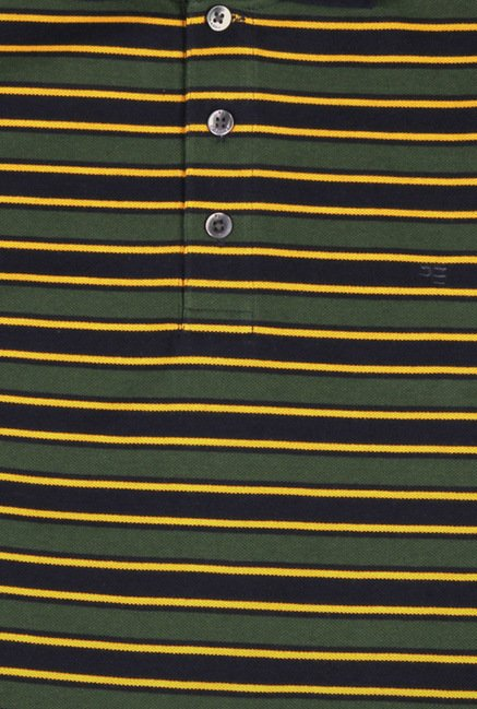 Peter England Green & Yellow Striped Polo T-Shirt