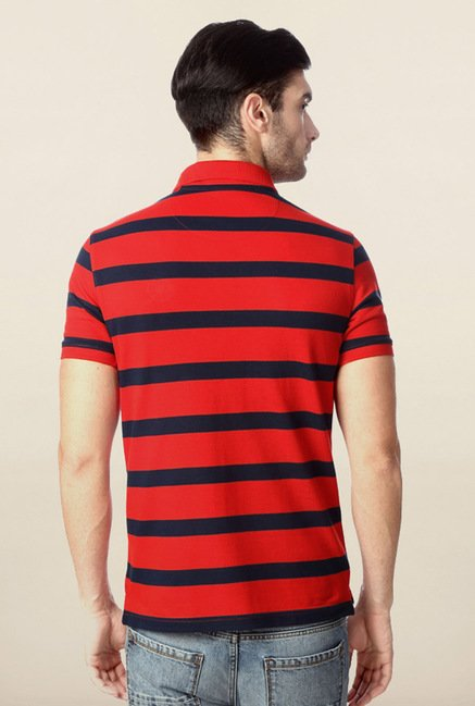 Peter England Red & Navy Striped Polo T-Shirt