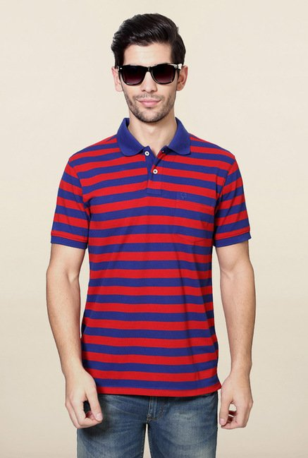 Allen Solly Blue & Red Striped Polo T-Shirt