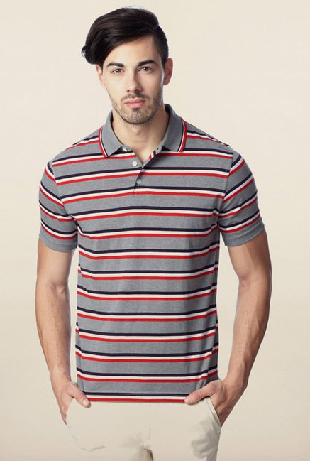 Peter England Grey & Red Striped Polo T-Shirt