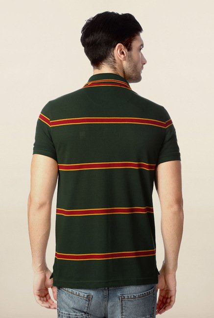 Peter England Green & Red Striped Polo T-Shirt