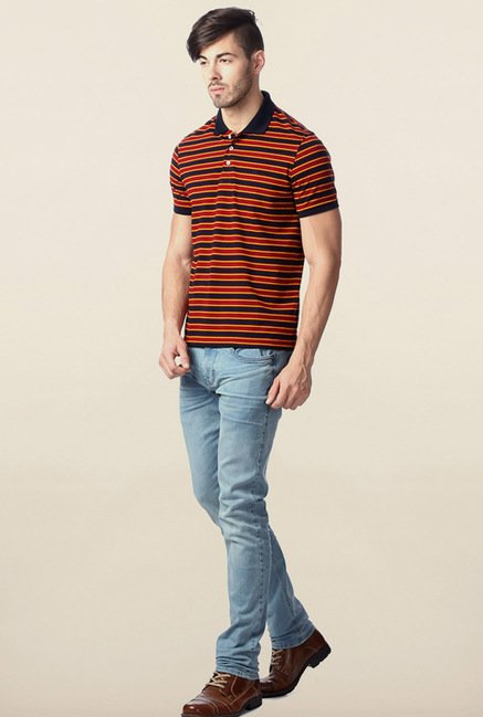 Peter England Red & Black Striped Polo T-Shirt