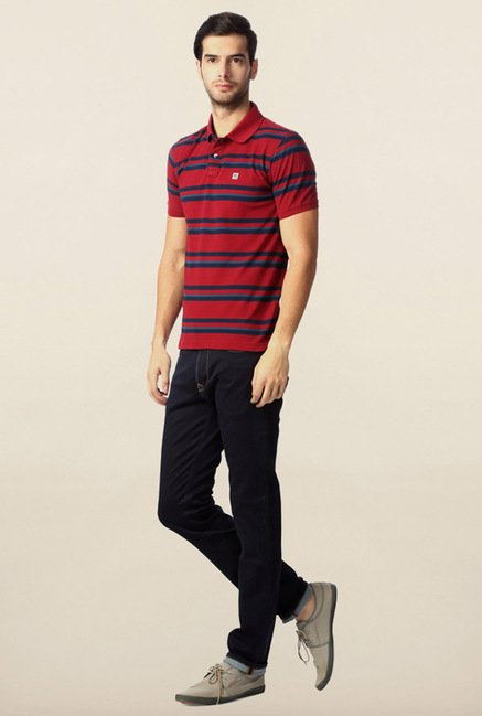 Peter England Red Polo Striped T-Shirt