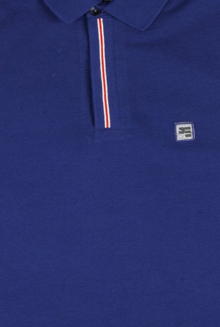 Peter England Blue Solid Polo T-Shirt