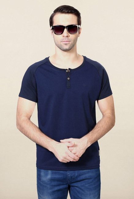 Allen Solly Dark Blue Solid Henley T-Shirt