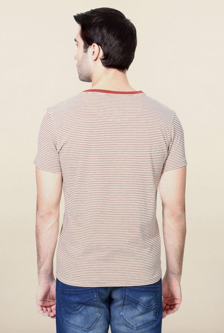 Allen Solly Maroon Striped T-Shirt