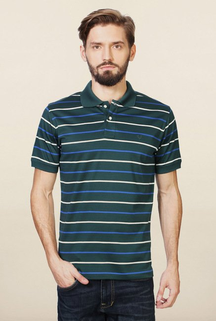 Allen Solly Green Striped Polo T-Shirt