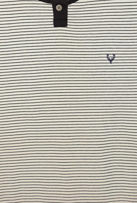 Allen Solly White & Black Striped T-Shirt