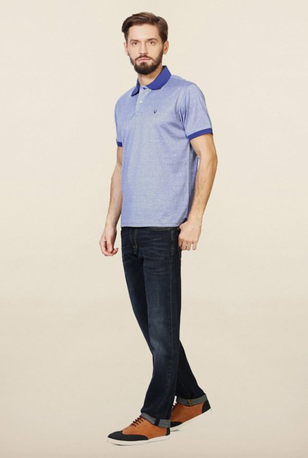 Allen Solly Blue Printed Polo T-Shirt