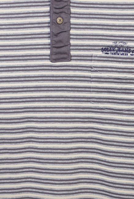 Allen Solly Grey Striped Polo T-Shirt