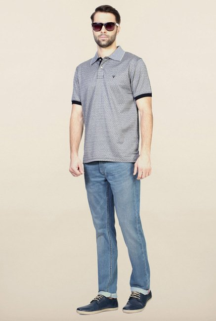 Allen Solly Grey Self Print Polo T-Shirt