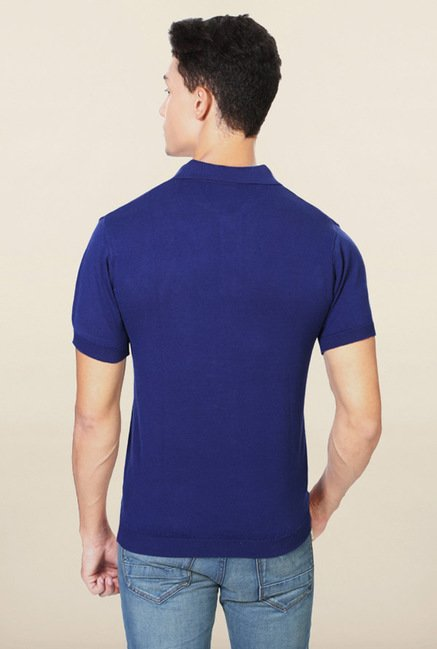 Allen Solly Pink & Navy Solid Polo T-Shirt