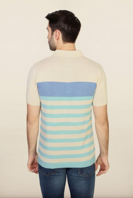 Allen Solly Cream & Blue Striped Polo T-Shirt