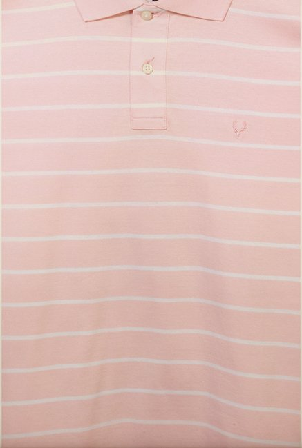 Allen Solly Pink Striped Polo T-Shirt