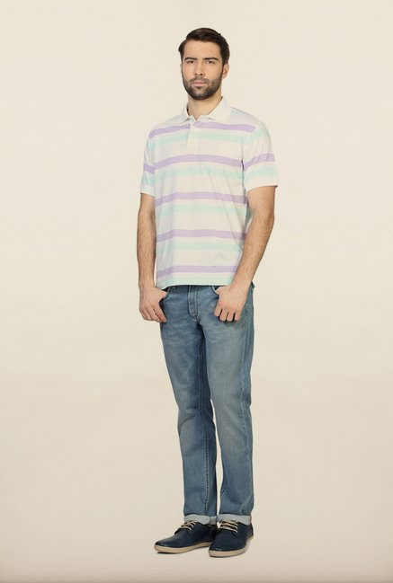 Allen Solly White Striped Polo T-Shirt