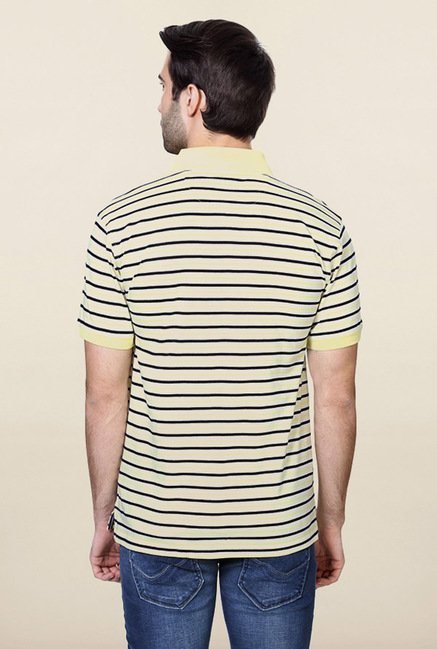 Allen Solly Yellow Striped Polo T-Shirt
