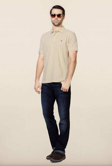 Allen Solly Beige Solid Polo T-Shirt